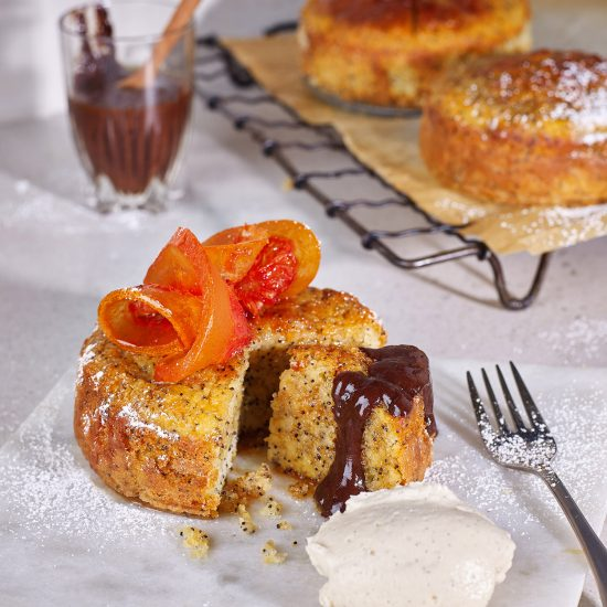 Blood Orange, Poppy Seed Kefir Cake