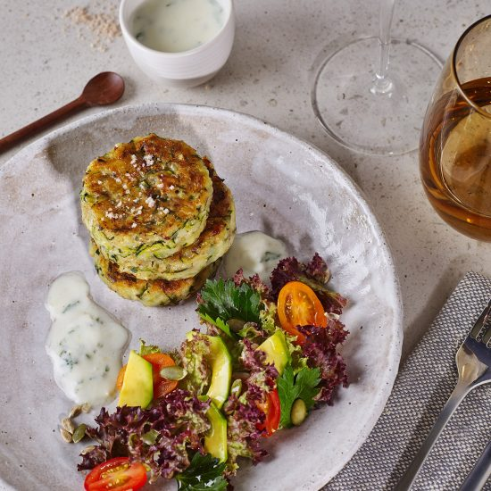 Zucchini Roesti with Salad of Tomato, Avocado, Toasted Pepita Seeds, Kefir Minted Dressing